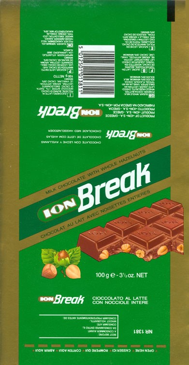 Break, milk chocolate with whole hazelnuts, 100g, about 1994, Ion S.A.- N.Faliro, Athens, Greece