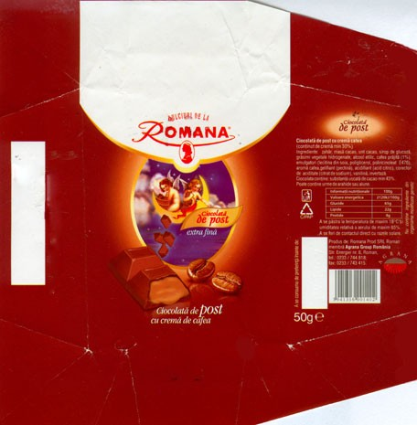 Milk chocolate with coffee cream filling, 50g, 07.12.2006, Romana Prod SRL Roman membra Agrana Group Romania, Romania