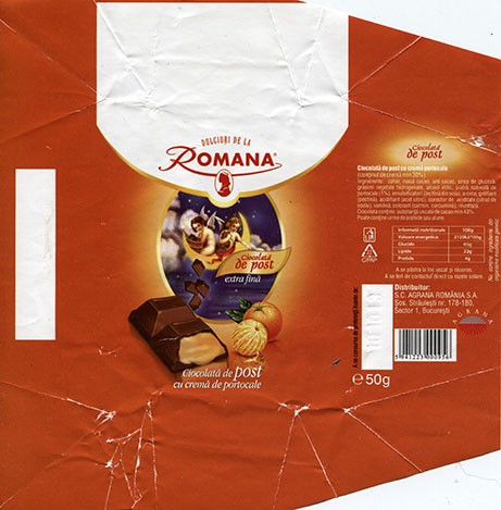Milk chocolate with orang cream filling, 50g, 10.10.2012, Romana Prod SRL Roman membra Agrana Group Romania, Romania