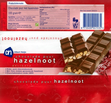 Dark chocolate with hazelnuts, 100g, 08.03.2006, Albert Heijn, Zaandam, Netherlands
