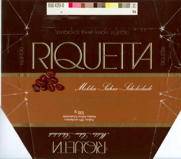 Riquetta, milk chocolate with coffee, 100g, Aldi, Mulheim a.d. Ruhr, Germany