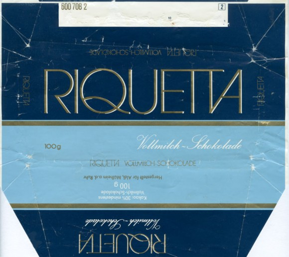 Riquetta, milk chocolate, 100g, Aldi, Mulheim a.d. Ruhr, Germany
