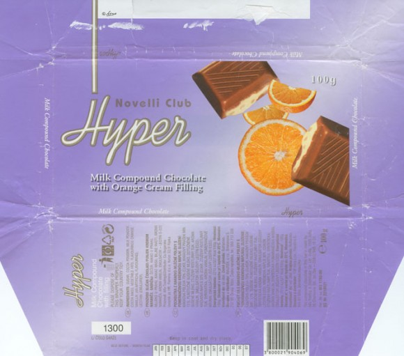 Novelli club, Hyper, milk compound chocolate with orange cream filling, 100g, 04.2004,  