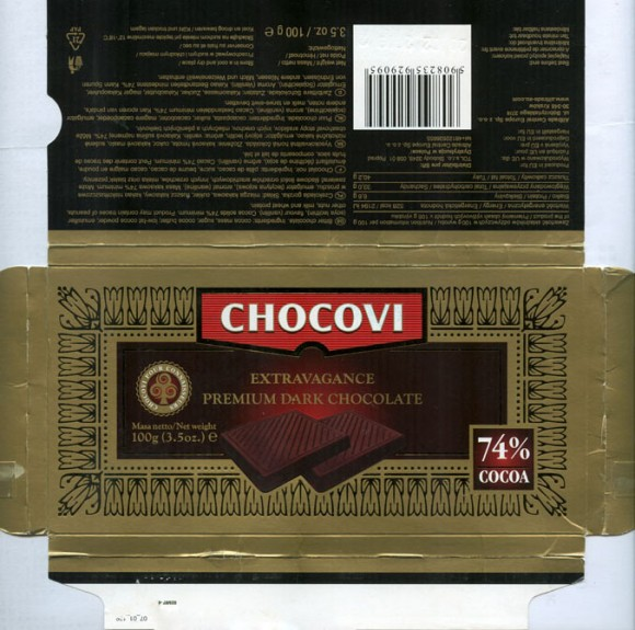 Chocovi, premium dark chocolate, 74% cocoa, 100g, 20.02.2008, Alltrade Central Europe Sp. z o.o. , Krakow, Poland