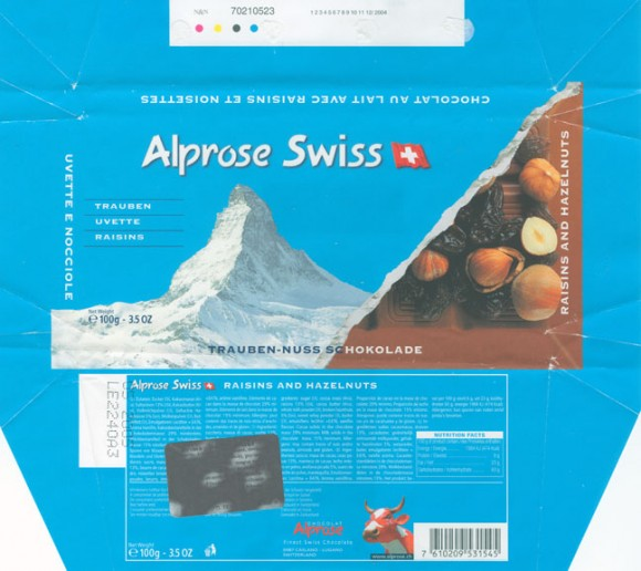 Raisins and huzelnuts, 100g, 05.2004