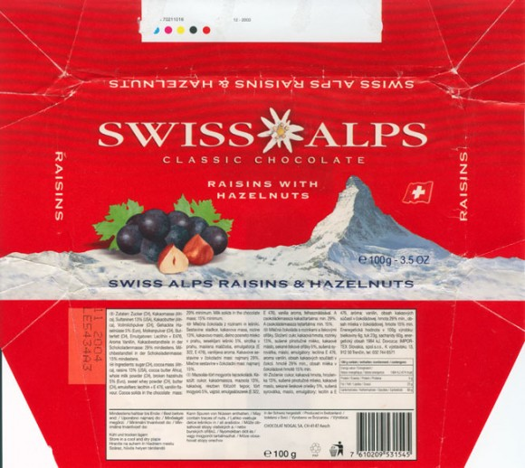 Swiss Alps, milk chocolate with raisins and hazelnuts, 100g, 11.2003, Alprose, Switzerland