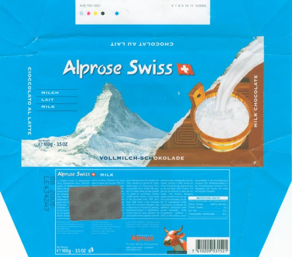 Milk chocolate, 100g, 08.2004, Alprose, Switzerland
