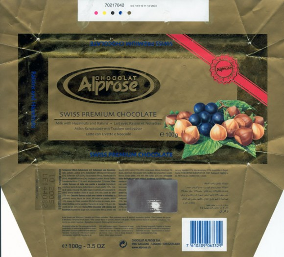 Swiss premium chocolate, milk chocolate with raisins and nuts, 100g, 10.2004, Alprose, Switzerland