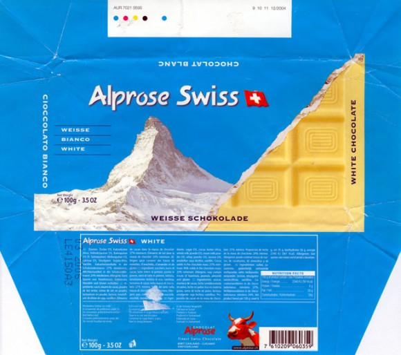 White chocolate, 100g, 03.2005, Alprose, Caslano-Lugano,  Switzerland