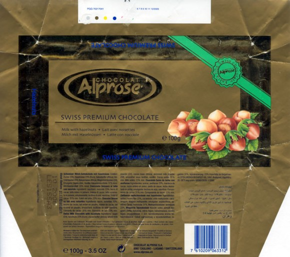 Swiss premium chocolate, milk chocolate with hazelnuts, 100g, 10.2005, Chocolat Alprose SA, Caslano-Lugano, Switzerland