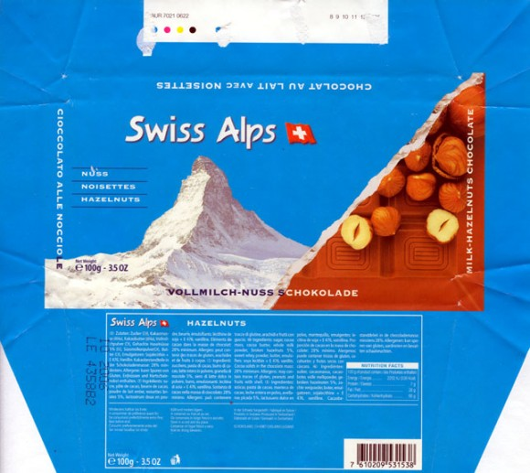 Swiss Alps, milk chocolate, 100g, 10.2005, Chocolat Alprose SA, Caslano-Lugano, Switzerland