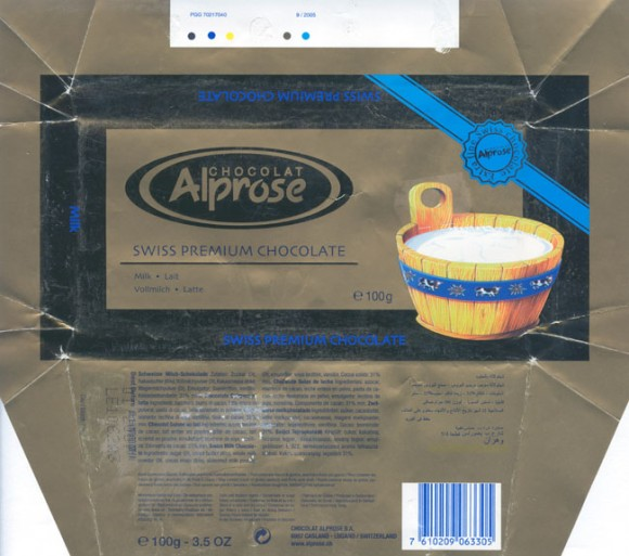Milk chocolate, 100g, 01.2006, Chocolat Alprose SA, Caslano-Lugano, Switzerland