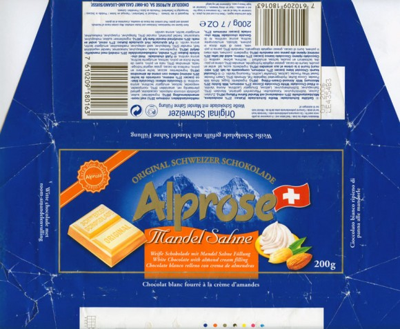 Alprose, white chocolate with almond cream filling, 200g, 09.2005, Chocolat Alprose SA, Caslano-Lugano, Switzerland