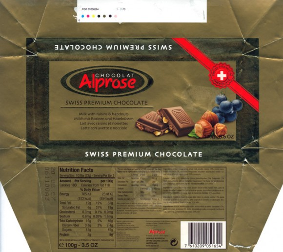 Alprose, milk chocolate with raisins and hazelnuts, 100g, 20.05.2006, Chocolat Alprose SA, Caslano-Lugano, Switzerland
