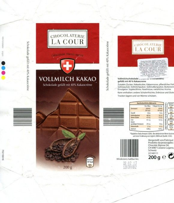 Chocolaterie La Cour, milk chocolate, 200g, 28.02.2012, Chocolat Alprose S.A, Caslano/Lugano, Switzerland