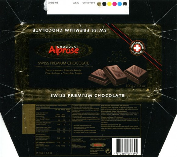 Dark chocolate, 100g, 24.03.2012, Chocolat Alprose S.A, Caslano/Lugano, Switzerland