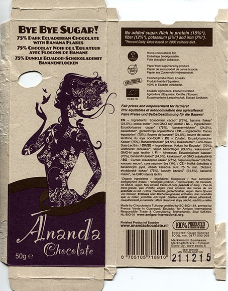 Ananda chocolate, 75% dark Ecuadorian chocolate with banaba flakes, 50g, 21.12.2014, Chocolateria Tulicorp by EC-BIO-154, Amigos International Responsible TRade and Consultancy, Netherlands