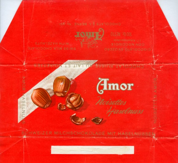 Swiss milk chocolate with hazelnuts, 100g, about 1970, Amor, Bern, Switzerland