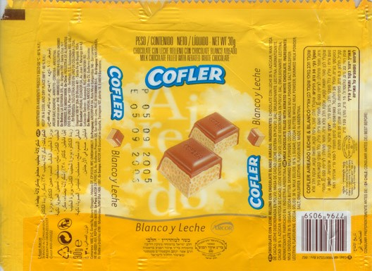 Cofler blanco y leche, milk chocolate filled with aerated white chocolate, 30g, 05.09.2004, Arcor S.A.I.C, Arroyito, Argentina