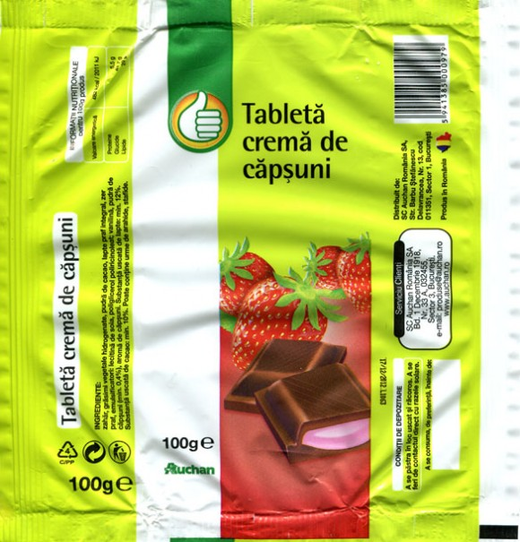 Tablet with strawberry cream, 100g, 2011, SC Auchan Romania SA, Bucuresti, Romania
