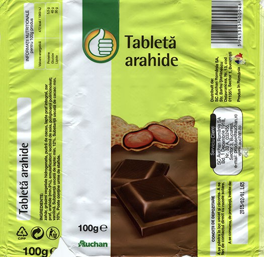 Tablet with nuts, 100g, 01.02.2014, SC Auchan Romania SA, Bucuresti, Romania