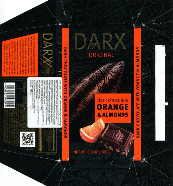 Darx, dark chocolate with orange and almonds, 100g, 20.07.2013, Babaevsky Confectionary Concern OAO, Moscow, Russia