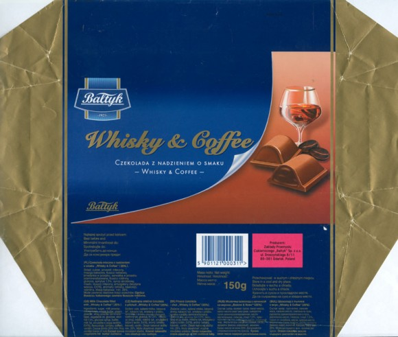 "Milk chocolate filled with ""Whisky and Coffee"", 150g, 07.2006, Baltyk ZPC, Gdansk, Poland"