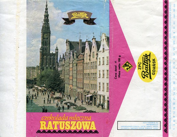 Milk chocolate Ratuszowa, 100g, about 1980, Baltyk ZPC, Gdansk, Poland