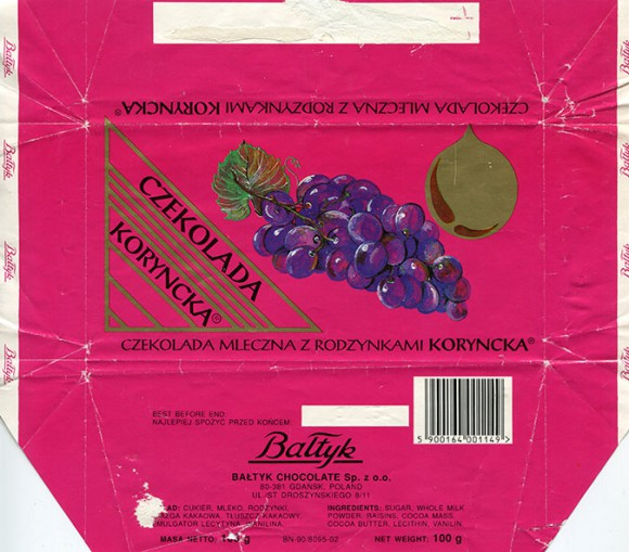 Milk chocolate with raisins, 100g, about 1990, Baltyk Chocolate Sp. z o.o., Gdansk, Poland