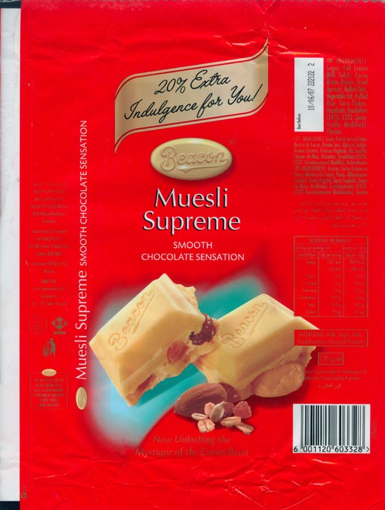 White chocolate with muesli, 120g, 10.06.2006, Beacon, Tiger Food Brands Ltd., Bryanston, South Africa