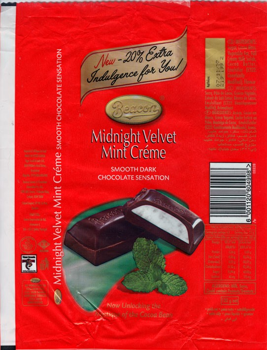 Midnight velvet mint creme, dark chocolate with mint filling, 120g, 07.11.2006, Beacon, Tiger Food Brands Ltd., Bryanston, South Africa