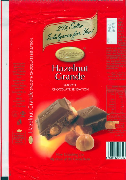 Hazelnut Grande, milk chocolate with hazelnuts, 120g, 08.10.2005, Beacon, Tiger Food Brands Ltd., Bryanston, South Africa