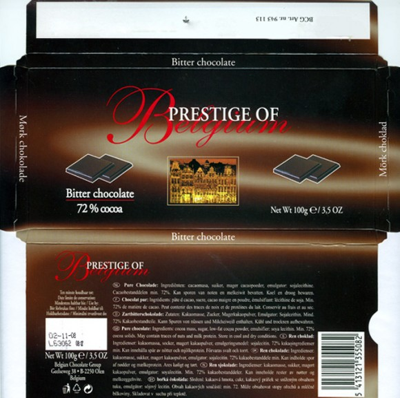 Prestige of Belgium, bitter chocolate 72%, 100g, 02.11.2006, Belgian Chocolate Group, Olen, Belgium