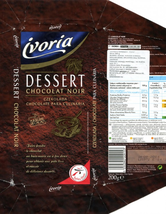 Ivoria, dark dessert chocolate, 200g, 14.09.2013, The Belgian Chocolate Group, Olen, Belgium