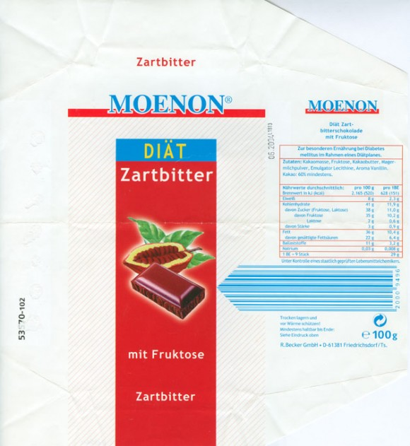 Dark chocolate sugar free, 100g, 06.2003, R.Becker GmbH, Friedrichsdorf, Germany