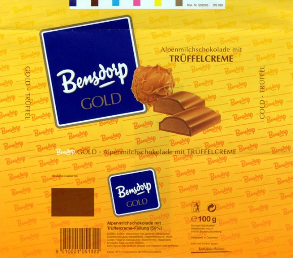 Bensdorp gold, milk chocolate with truffle cream, 100g, 
