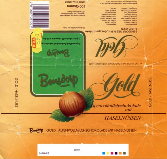 Gold, milk chocolate with hazelnuts, 100g, 09.1989, Bensdorp Ges.m.b.H,  Wien, Austria