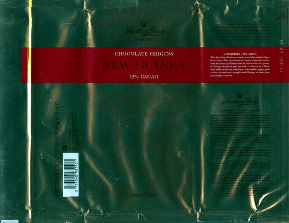 New Guinea, 72% cacao, extra dark chocolate, 100g, 14.12.2006, Anthon Berg LTD, Ballerup, Denmark