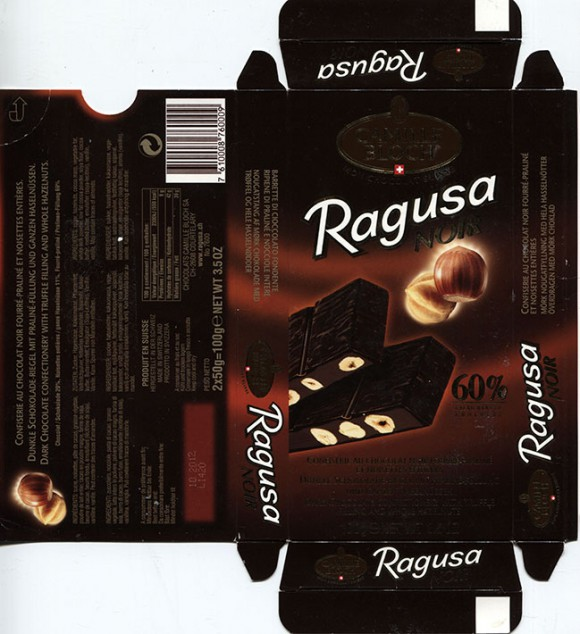 Ragusa Noir, dark chocolate with truffle filling and whole hazelnuts, 100g, 10.2011, Chocolats Camille Bloch S.A., Courtelary, Switzerland