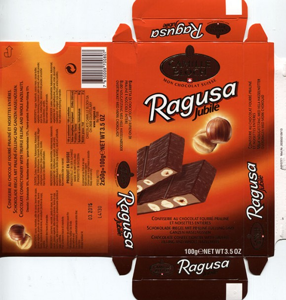 Ragusa Jubile, chocolate confectionery with truffle filling and whole hazelnuts, 100g, 03.2014, Chocolats Camille Bloch S.A., Courtelary, Switzerland