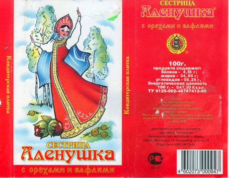 Aljonushka, milk chocolate with nuts, 50g, 23.05.1999