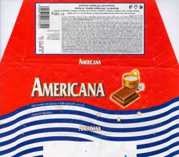 Americana, milk bar with cocoa enriched with raisin and broken hazelnut, 100g, 21.10.2004,Bonbonetti Kft, Budapest, Hungary