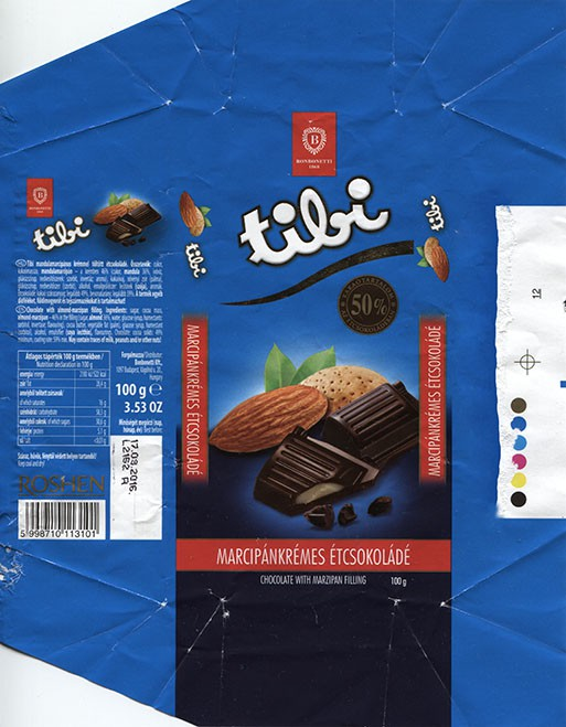Tili, chocolate with almond and marzipan filling, 100g, 17.03.2015, Bonbonetti Kft, Budapest, Hungary