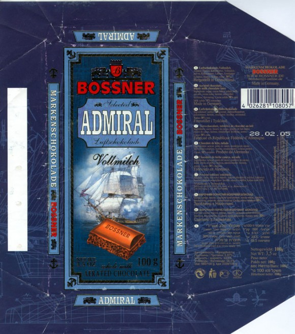 Admiral, aerated chocolate, whole milk chocolate bars, 100g, 28.02.2004, Bossner, Germany