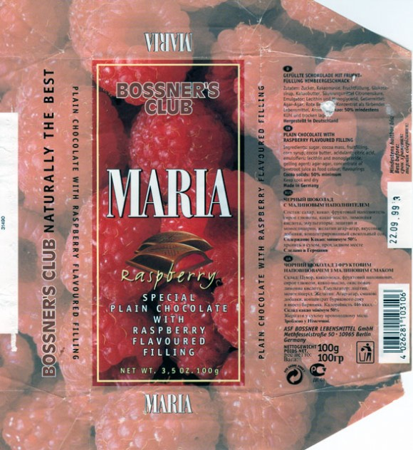 Maria, plain chocolate with raspberry flavoured filling, 100g, 22.09.1999