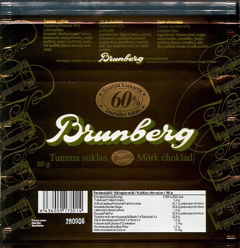 Dark chocolate, 50g, 26.09.2005,Brunberg Oy, Porvoo, Finland