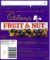 Fruit&Nut, milk chocolate with raisins and almonds, 100g, 02.01.1996, Cadbury\'s Ltd, Bournville, Birmngham