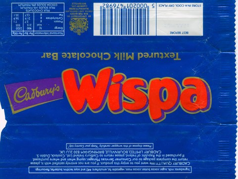Wispa, textured milk chocolate bar, 12.07.1993, Cudbury\