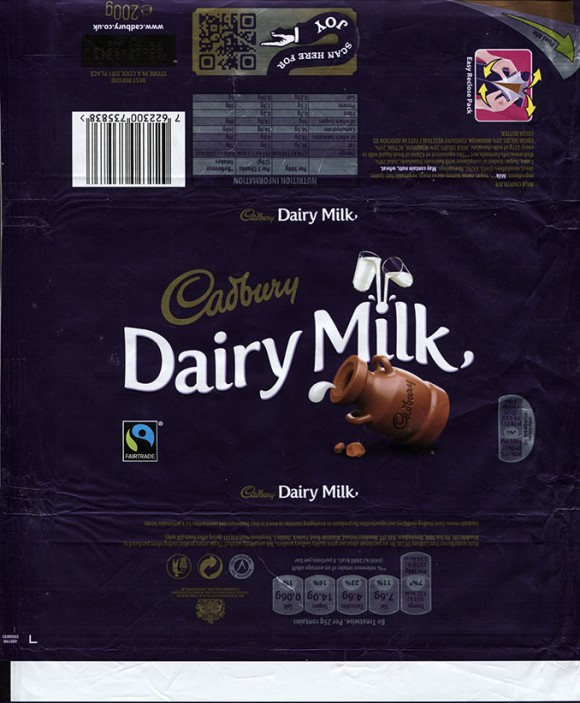 Milk chocolat, 200g, 04.08.2014 Cadbury, Birmingham, United Kingdom