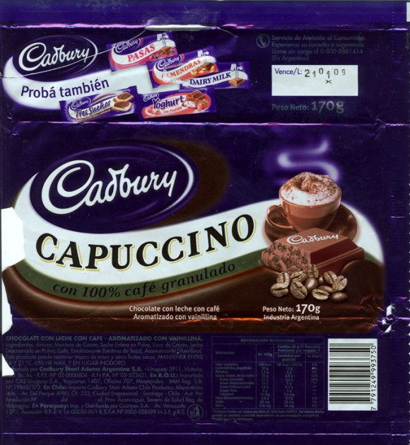 Capuccino, milk chocolate with vanilla and coffee flavoured granules, 170g, 21.01.2008, Cadbury Stani Adams Argentina S.A., Argentina